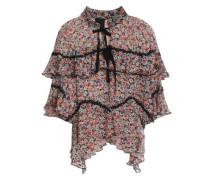 Ruffled floral-print silk-georgette blouse