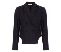 Double-breasted Pinstriped Wool-blend Blazer Navy