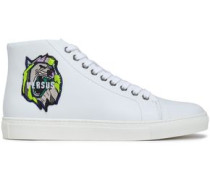 Appliquéd leather high-top sneakers