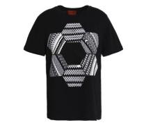 Crochet-paneled cotton-jersey T-shirt
