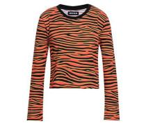 Animal-print stretch-cotton top