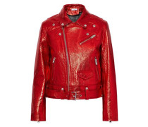 Metallic cracked-leather biker jacket
