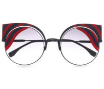 Cat-eye Printed Acetate And Metal Sunglasses Navy Size --
