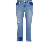 Cropped Embellished Distressed Mid-rise Slim-leg Jeans Mid Denim