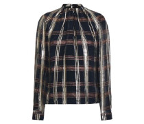 Metallic Checked Silk-blend Chiffon Blouse Black