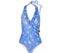 Dexies Wrap-effect Printed Halterneck Swimsuit Azure