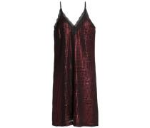Lace-trimmed metallic jacquard mini dress