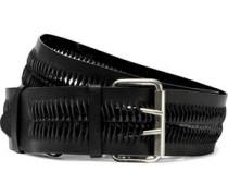 Laser-cut Textured-leather Belt Black