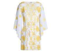 Claudia Belted Crocheted Cotton Coverup Yellow