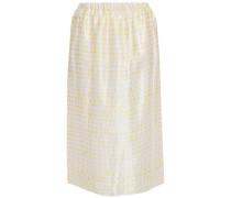 Woman Polka-dot Satin Midi Skirt Yellow