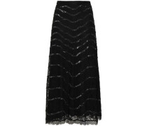 Sequined Lace Midi Skirt Black