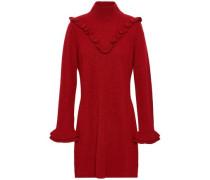 Ruffled Wool And Yak-blend Mini Dress Claret