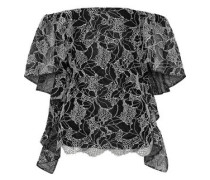 Off-the-shoulder Draped Metallic Cotton-blend Lace Top Black