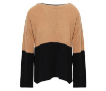 Two-tone Intarsia Cashmere Sweater Camel