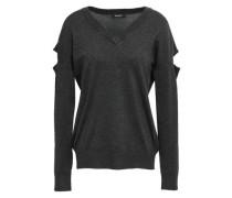 Cutout Stretch-knit Sweater Charcoal