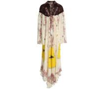 Tasseled printed silk-jacquard maxi dress