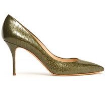 Croc-effect Glossed-leather Pumps Army Green