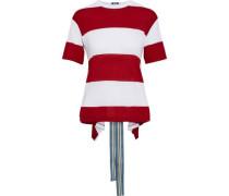 Draped Striped Jersey T-shirt Red
