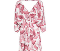 Alessandra Shirred Printed Voile Cover-up Brick  /XL