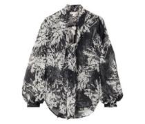 Woman Cleone Pussy-bow Floral-print Silk-chiffon Blouse Black