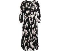 Gathered Floral-print Silk Dress Black Size 00