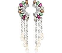 Silver-tone, Crystal And Faux Pearl Clip Earrings Silver Size --