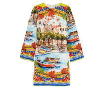Embellished printed stretch-silk tunic