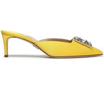Lilia Embellished Satin Mules Yellow