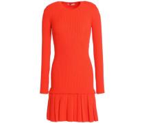 Ribbed-knit merino wool fluted mini dress