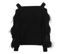 Cold-shoulder Embellished Cable-knit Cashmere Sweater Black