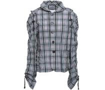 Checked Shell Hooded Jacket Gray