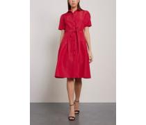 Steps Silk-faille Shirt Dress Crimson