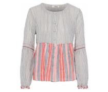 Striped seersucker cotton-blend top
