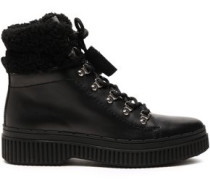 Shearling-trimmed Leather Snow Boots Black