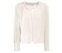 Woman Frayed Chain-trimmed Bouclé-tweed Blazer Ivory