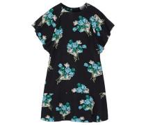 Woman Fluted Floral-print Silk-georgette Mini Dress Black