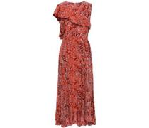 Layered Asymmetric Crepe De Chine Midi Dress Tomato Red Size 1