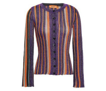 Striped Metallic Ribbed-knit Cardigan Purple