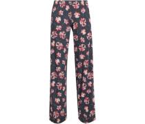 Floral-print Stretch-modal Jersey Pajama Pants Anthracite