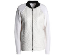 Paneled wool and embossed leather jacket