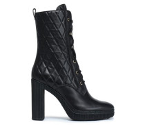 Quilted Leather Boots Black