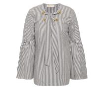 Lace-up Striped Cotton-blend Poplin Top White