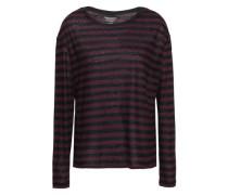 Striped Slub Cotton And Cashmere-blend Top Burgundy