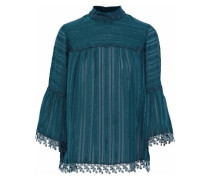 Daisy Chain lace-trimmed embroidered silk-chiffon blouse