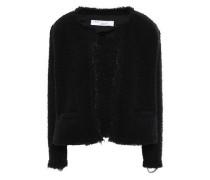 Strut Frayed Chain-embellished Bouclé Jacket Black