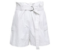 Belted Cotton-blend Shorts Off-white