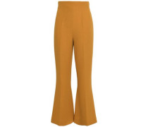 Woman Crepe Flared Pants Mustard