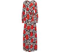 Belted floral-print silk maxi dress