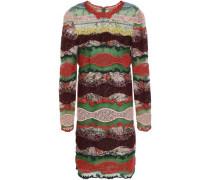 Paneled Cotton-blend Lace, Point D'esprit And Printed Crepe De Chine Mini Dress Multicolor