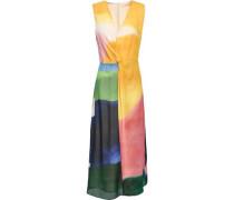 Twist-front Printed Silk-chiffon Midi Dress Saffron